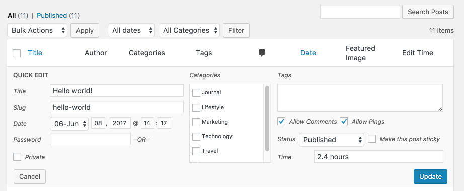 Managing Content Easily With Quick Edit – GenerateWP