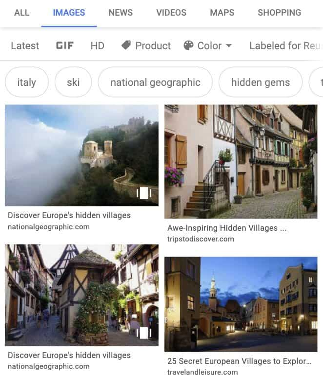 Web Stories in Google Images