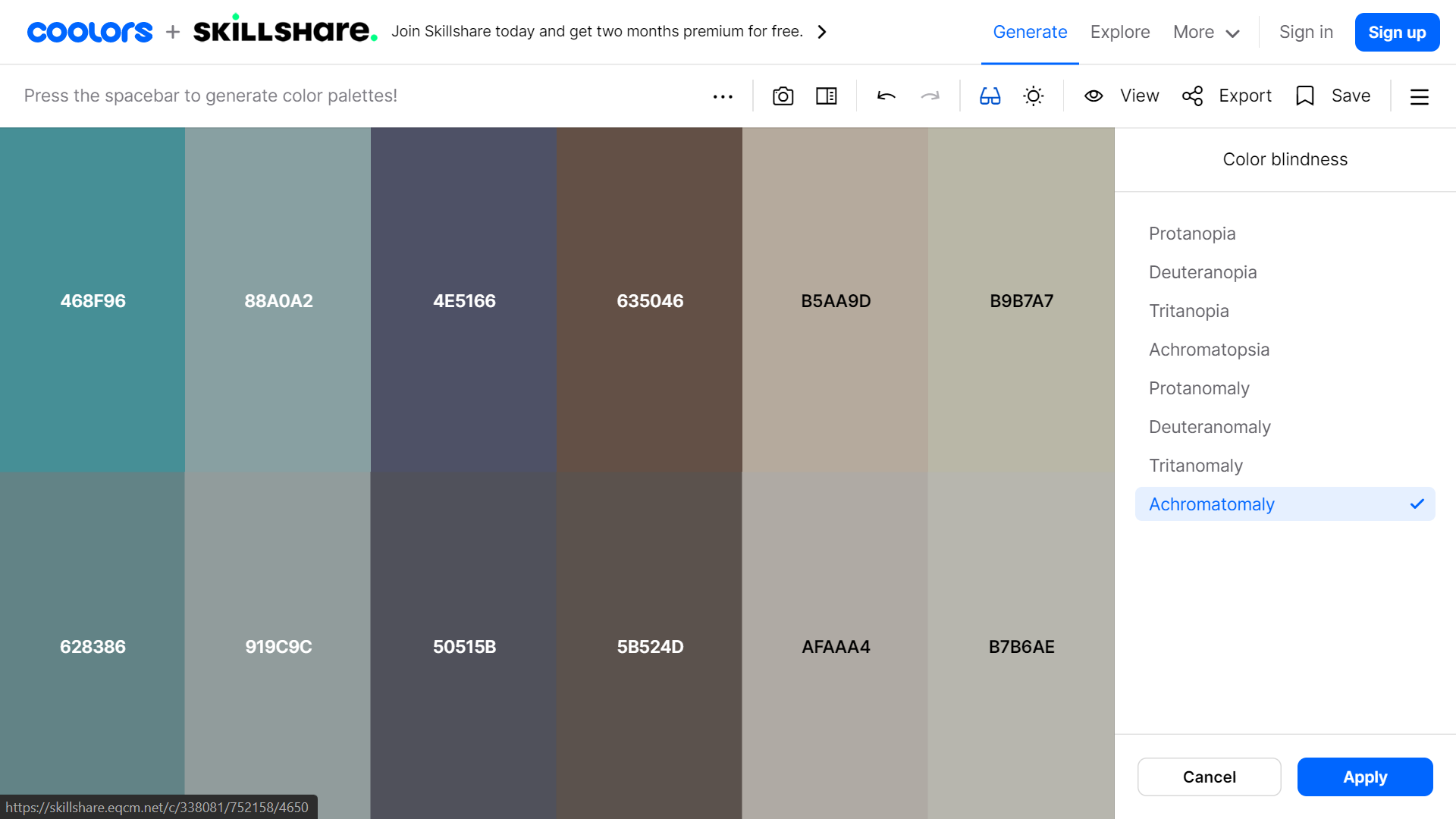 Coolors color palette for color blind users