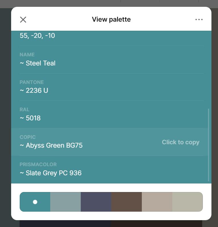 Coolors view palette