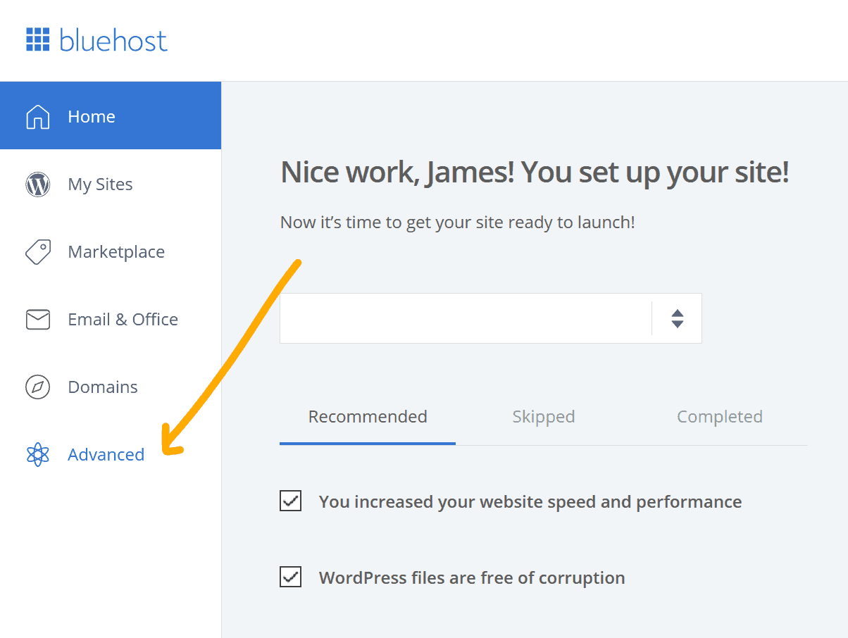 update PHP in Bluehost step 1