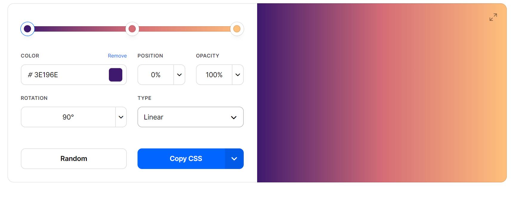Coolors dedicated gradient tool