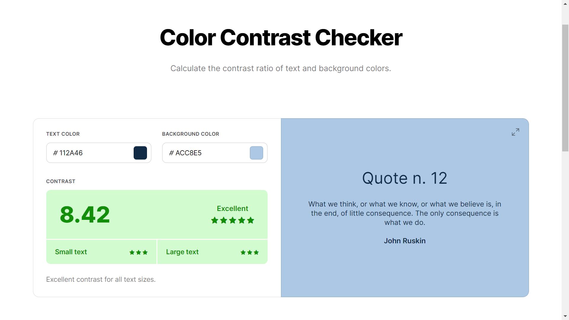 Coolors color contrast checker