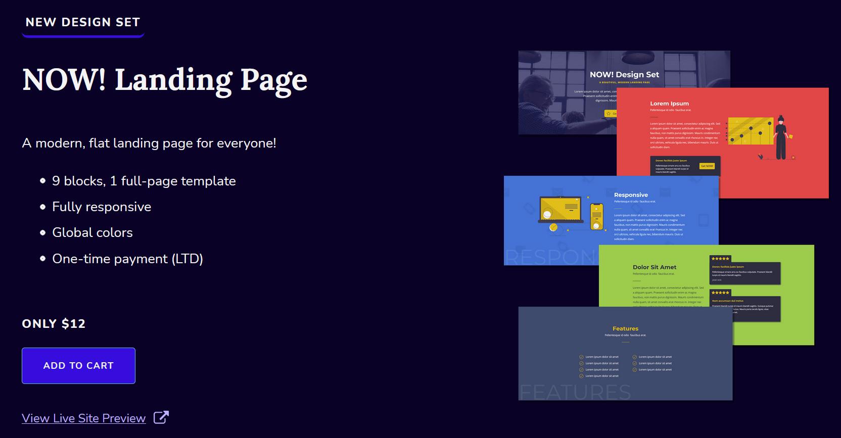 Landing Page design set for Oxygen Builder