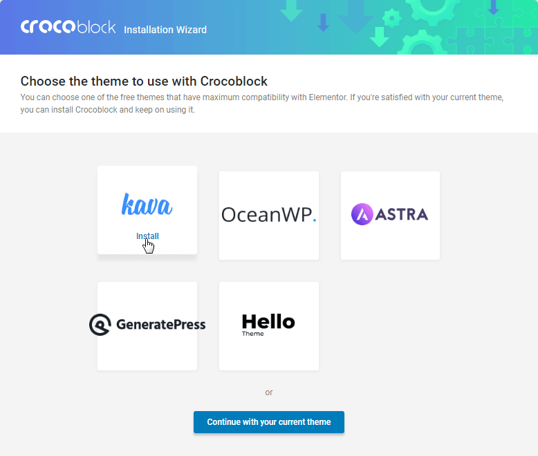 choose the theme to use with Crocoblock