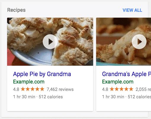 Apple pie recipe rich result.