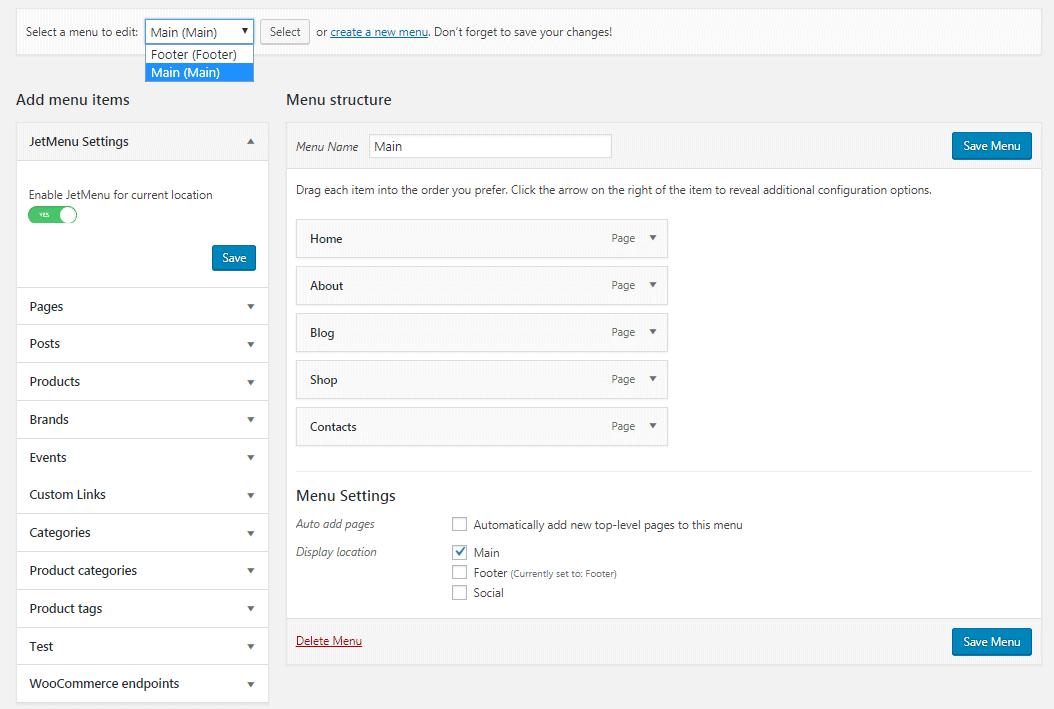 Enabling JetMenu settings