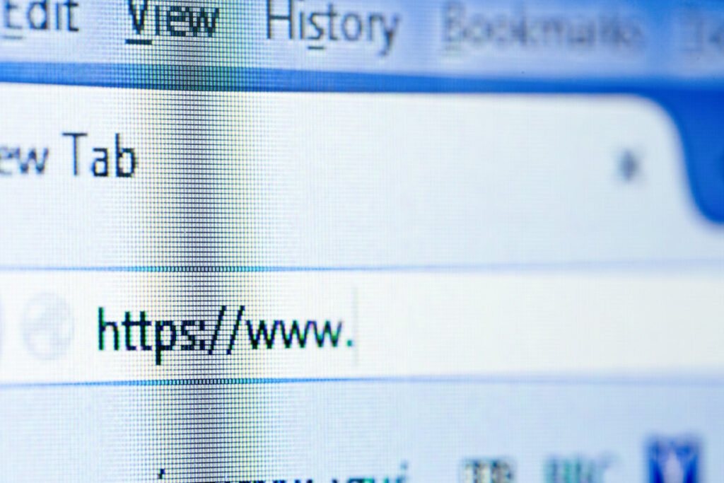 close up of web browser, shallow dof on the address bar